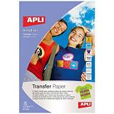 Apli Papel Transfer, A4, soporte oscuro, 5 hojas