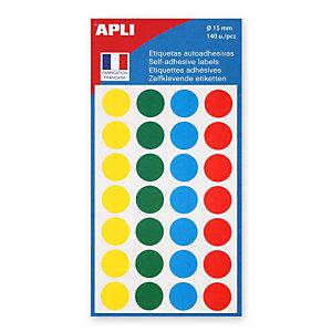 Apli Pastilles adhésives de couleur, Ø 15 mm - Pochette de 140, coloris assortis