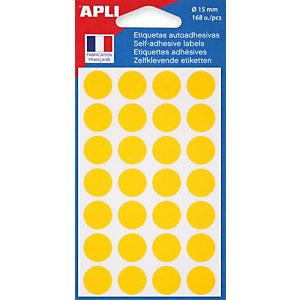 Apli Pastilles adhésives de couleur, Ø 15 mm - Pochette de 168, coloris jaune