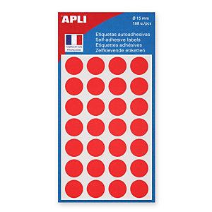 Apli Pastilles adhésives de couleur, Ø 15 mm - Pochette de 168, coloris rouge