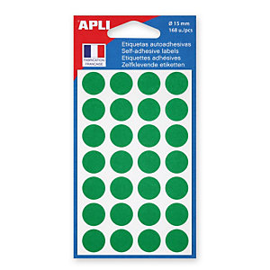 Apli Pastilles adhésives de couleur, Ø 15 mm - Pochette de 168, coloris vert