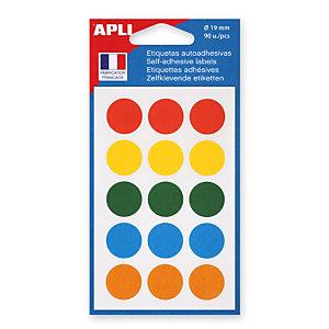 Apli Pastilles adhésives de couleur, Ø 19 mm - Pochette de 90, coloris assortis