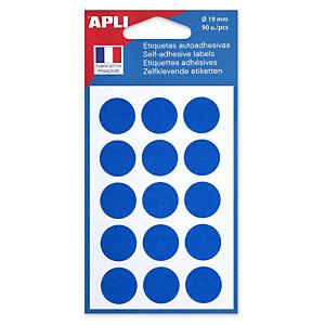 Apli Pastilles adhésives de couleur, Ø 19 mm - Pochette de 90, coloris bleu