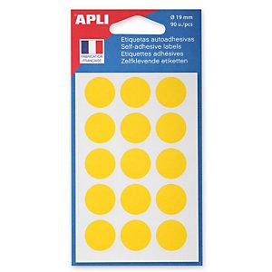 Apli Pastilles adhésives de couleur, Ø 19 mm - Pochette de 90, coloris jaune