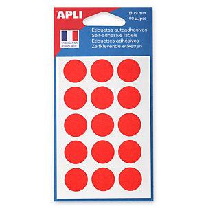 Apli Pastilles adhésives de couleur, Ø 19 mm - Pochette de 90, coloris rouge