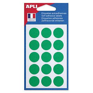 Apli Pastilles adhésives de couleur, Ø 19 mm - Pochette de 90, coloris vert