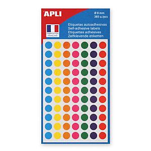 Apli Pastilles adhésives de couleur, Ø 8 mm - Pochette de 385, coloris assortis