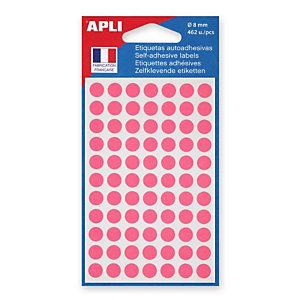 Apli Pastilles adhésives de couleur, Ø 8 mm - Pochette de 462, coloris rose