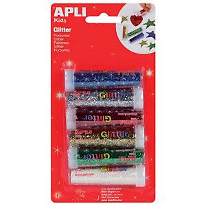 Apli Purpurina en polvo - blíster de 6 colores surtidos