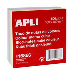 Apli Taco de notas encoladas al lomo 100 x 100 mm colores surtidos, 500 hojas