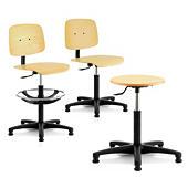 Arbeitsstühle und -hocker mit Holzsitzfläche