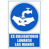 """ARCHIVO 2000 Señal  """"Obligatorio lavarse las manos"""" 210x297 PVC azul"""