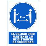 """ARCHIVO 2000 Señal """"Obligatorio mantener la distancia de seguridad 2 m"""""""