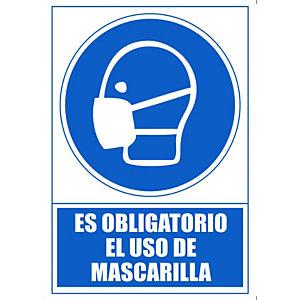 "ARCHIVO 2000 Señal ""Obligatorio uso de mascarilla"" 210x297 PVC azul"