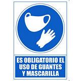 """ARCHIVO 2000 Señal  """"Obligatorio uso mascarilla y guantes"""" 210x297 PVC azul"""