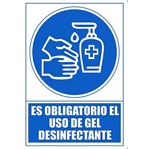 "ARCHIVO 2000 Señal  ""Obligatorio utilizar gel desinfectante "" 210x297 PVC azul"