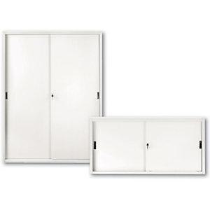Armadi metallici alti con ante scorrevoli - Colore grigio chiaro - Dimensioni cm 120 x 45 x 200