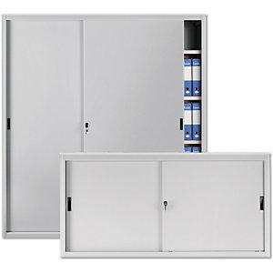 Armadi metallici bassi con ante scorrevoli - Colore grigio chiaro - Dimensioni cm 120 x 45 x 85
