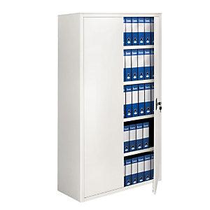 Armadio metallico alto con ante battenti - Colore bianco - Dimensioni cm 100 x 45 x 200