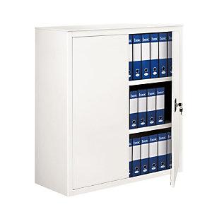 Armadio metallico basso con ante battenti - Colore bianco - Dimensioni cm 100 x 45 x 116