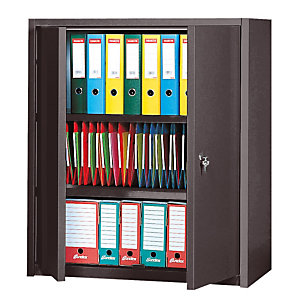 Armoire basse Primo, 2 tablettes, couleur anthracite