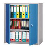 Armoire basse Primo, 2 tablettes, couleur gris/bleu##Lage kast Primo, 2 legbladen, kleur grijs/blauw