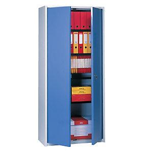 Armoire haute Primo, 3 tablettes, coloris gris/bleu