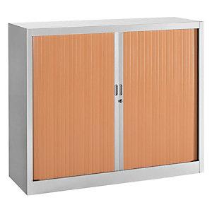 Armoire métal Classtout Classique - A rideaux - L. 120 x H. 100 cm - Corps Gris  - Rideaux Hêtre