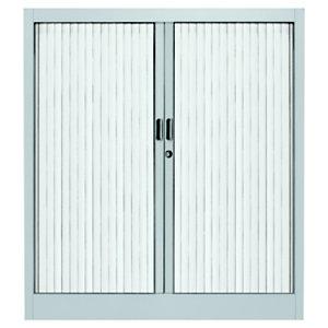 Armoire métal Classtout Color à rideaux - L. 120 x H. 100 cm - Corps Aluminium  - Rideaux Blanc