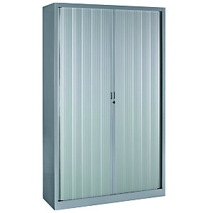 Armoire métal Classtout Color à rideaux - L. 120 x H. 198 cm - Corps Aluminium  - Rideaux Aluminium