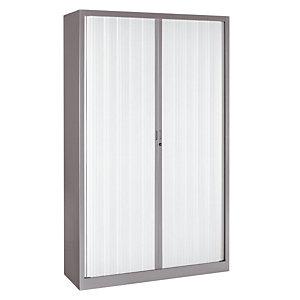 Armoire métal Classtout Color - A rideaux - L. 120 x H. 198 cm - Corps Aluminium  - Rideaux Blanc