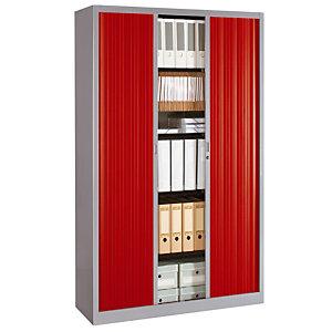 Armoire métal Classtout Color - A rideaux - L. 120 x H. 198 cm - Corps Aluminium  - Rideaux Rouge
