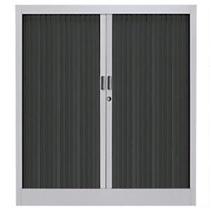 Armoire métal Classtout Color  à rideaux - L. 90 x H. 100 cm - Corps Aluminium  - Rideaux Anthracite