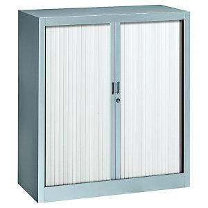 Armoire métal Classtout Color à rideaux - L. 90 x H. 100 cm - Corps Aluminium  - Rideaux Blanc
