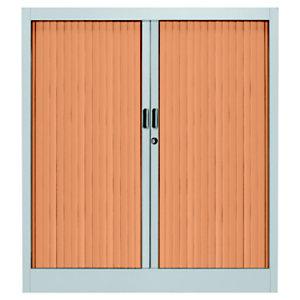 Armoire métal Classtout Color - A rideaux - L. 90 x  H. 100 cm - Corps Aluminium  - Rideaux Hêtre