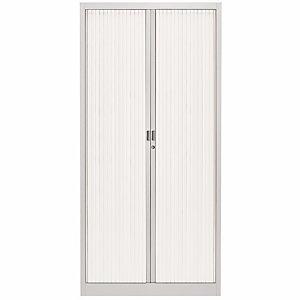 Armoire métal Classtout Color - A rideaux - L. 90 x H. 180 cm - Corps Aluminium  - Rideaux Blanc