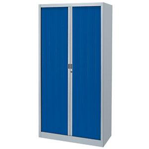 Armoire métal Classtout Color à rideaux - L. 90 x H. 180 cm  - Corps Aluminium  - Rideaux Bleu