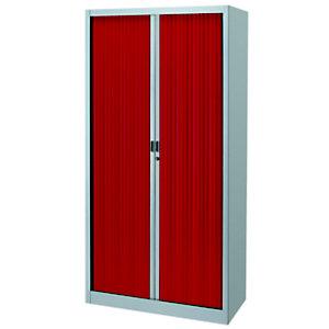 Armoire métal Classtout Color à rideaux - L. 90 x H. 180 cm - Corps Aluminium  - Rideaux Rouge