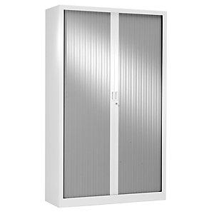 Armoire métal Classtout White Color à rideaux - L. 120 x H. 198 cm - Corps Blanc - Rideaux Aluminium