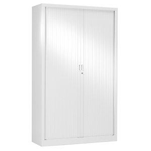 Armoire métal Classtout White Color à rideaux - L. 120 x H. 198 cm - Corps Blanc - Rideaux Blanc