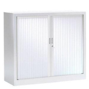 Armoire métal monobloc Généric - A rideaux - H. 100 x L. 100 cm - Corps Blanc - Rideaux Blancs