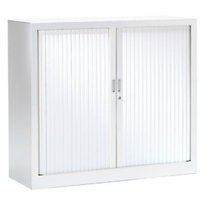 Armoire métal monobloc Généric - A rideaux - H. 100 x L. 120 cm - Corps blanc - Rideaux Blanc
