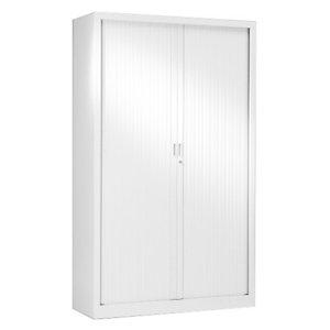Armoire métal monobloc Généric - A rideaux - H. 198 x L. 120 cm - Corps blanc - Rideaux Blanc