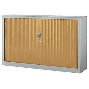 Armoire métal à rideaux Confort Maxi largeur - 160 x 100 cm - Corps Aluminium - Rideaux Hêtre