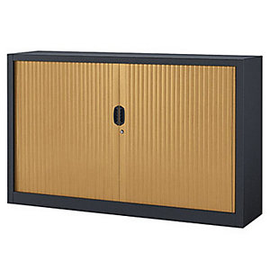 Armoire métal à rideaux Confort Maxi largeur - 160 x  100 cm - Corps Anthracite - Rideaux Hêtre
