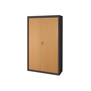 Armoire métal  - A rideaux - H.200 x L.120 cm - Corps Anthracite - Rideaux Hêtre