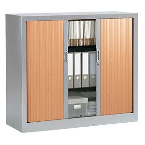 Armoire à rideaux NF Environnement - H.100 x L.120 cm - Corps Alu - Rideaux Hêtre