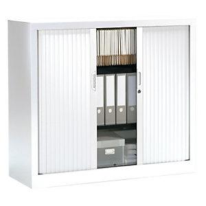 Armoire à rideaux NF Environnement - H.100 x L.120 cm - Corps Blanc - Rideaux Blanc