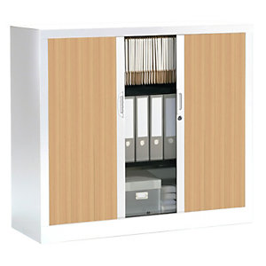 Armoire à rideaux NF Environnement - H.100 x L.120 cm - Corps Blanc - Rideaux Chêne