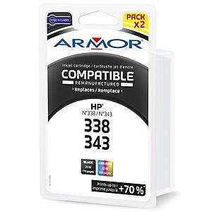 ARMOR Cartouche d'encre remanufacturée, compatible pour HP 338-343, SD449EE, Pack 4 couleurs - Noir + couleurs